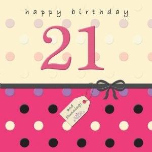 Age 21 Happy Birthday Card With Swarovski Crystal - Dotty Days TW693
